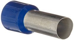 """Panduit FSD87-25-Q Insulated Ferrule, Single Wire DIN End Sleeve, 1 AWG Wire Size, Blue, 0.59"""" Max Insulation, 1.125"""" Wire Strip Length, 0.41"""" Pin ID, 0.98"""" Pin Length, 1.61"""" Overall Length (Pack of 25)"""