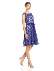 Julian Taylor Sleeveless Lace Fit Flare Dress - Lapis/Beige - Size: 14