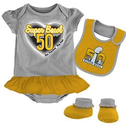 Baby Girl's NFL Super Bowl 50 Creeper Set - Gray/Yellow - Size: 24 Months