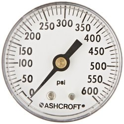 "Ashcroft Type 1001P ABS Patented PowerFlex Movement Panel Mount Commercial Pressure Gauge, 2"" Dial Size, 1/4"" NPT Back Connection, Brass Socket, 0/600 psi Range"