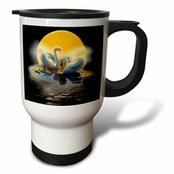 3dRose tm_167138_1 White Swans in Beautiful Lake with Bright Moon Stunning Colors Travel Mug, 14-Ounce, Stainless Steel