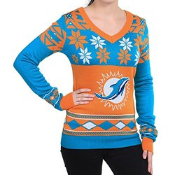 MIAMI DOLPHINS WOMEN'S BIG LOGO V-NECK SWEATER EXTRA LARGE