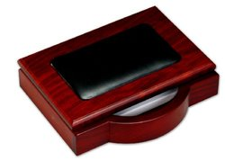 """DACASSO  Rosewood & Leather 4"""" x 6"""" Memo Holder"""