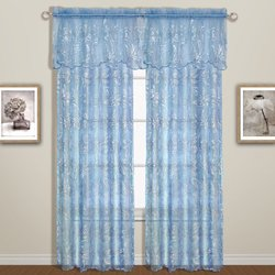 United Curtain Bling Semi-Sheer Window Curtain Panel, 55 by 63-Inch, Blue