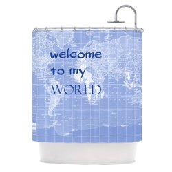 "Kess InHouse 'Welcome to My World' Shower Curtain - Indigo - Size: 69""x70"""