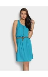 Women's Short Sleeve Dress with Zippers - Amazon Green - Size: 2
