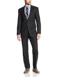 Kenneth Cole Men's 2 Button Slim Fit Suit - Black - Size: 46L