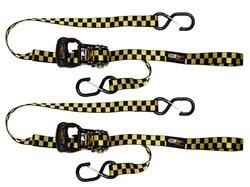 EK Ekcessories Dual Safety Clip Tie Down with Soft Tie - Yellow/Black