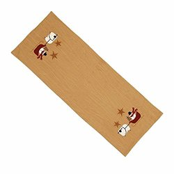 "Home Collection by Raghu Tea Dyed Snowman and Sled Table Runner - 14""x 36"""