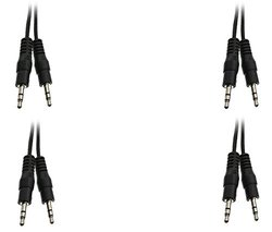 C&E 3.5mm 50-feet Male to Male Stereo Cable - Pack of 4 - Blk (CNE489211)