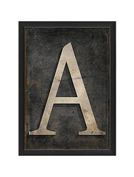 "Blueprint Artwork Letter ""A"" Framed Textual Art - Black/Gray"