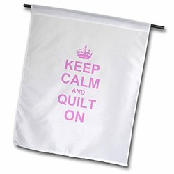 "3dRose 18 x 27"" Keep Calm And Quilt On Garden Flag - Pink"