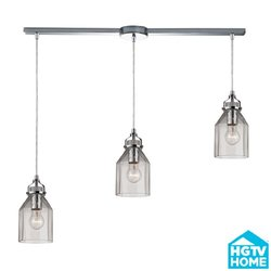 ELK lighting Danica 3 Light Pendant In Polished Chrome And Clear Glass