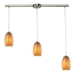 Elk Lighting Andover Satin Nickel Textured Beige Glass 3-Light Chandelier