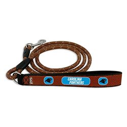 GameWear NFL Carolina Panthers Football Brown Leather Rope Leash - Large