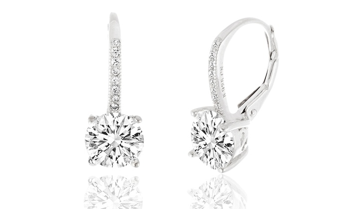 Lesa Mice Swarovski Elements Crystal Leverback Sterling Silver Earring