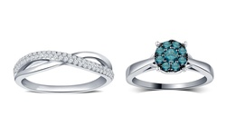 Kiran Jewels Criss Cross 0.25 CTTW Diamond Rings - White - Size: 6