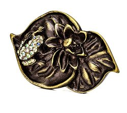 Carpe Diem Hardware 2570-3-78 In The Garden Antique Brass Double Lily Pad & Frog Large Knob with Swarovski Crystals