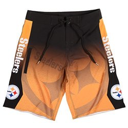 KLEW NFL Pittsburgh Steelers Gradient Board Shorts, XX-Large, Black