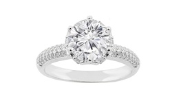 4 CTW Round Cut Pave Crown Engagement Ring - Sterling Silver - Size: 7