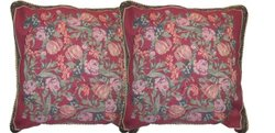 "DaDa Bedding 18""X18"" Field of Roses Woven Cushion Cover - Set of 2 - Multi"