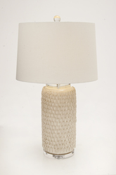 "Deco 30"" Ceramic Crystal Table Lamp - Ivory (62102A)"