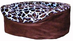 Pampered Pets Blue-Brown Print Oval Pet Bed - Brown - Size: Large