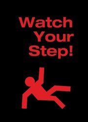 "NoTrax 194 Safety Message Floor Mat with Vinyl Backing, ""Watch Yourstep"", 3' Width x 5' Length x 3/8"" Thickness, Black"