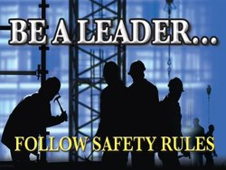 """Accuform Signs PST113 Safety Awareness Poster, """"BE A LEADER...FOLLOW SAFETY RULES"""", 18"""" Length x 24"""" Width, Laminated Flexible Plastic"""