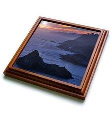 "3dRose trv_88214_1 California, Big Sur, Julia Pfeiffer Burns Sp US05 BJA0277 Jaynes Gallery Trivet with Ceramic Tile, 8 by 8"", Brown"