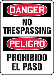 "Accuform Signs SBMATR112VA Aluminum Spanish Bilingual Safety Sign, Legend ""DANGER NO TRESPASSING/PELIGRO PROHIBIDO EL PASO"", 20"" Length x 14"" Width x 0.040"" Thickness, Red/Black on White"