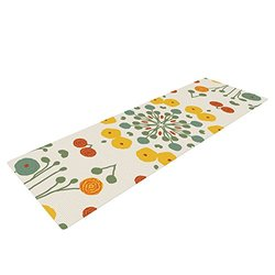 "KESS InHouse Laura Nicholson Ranunculas Exercise Yoga Mat, Floral Yellow, 72"" by 24"""