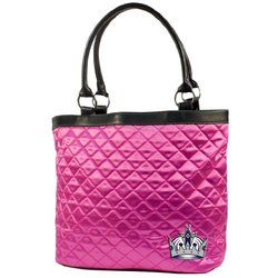 NHL Women's Los Angeles Kings Quilted Tote HandBag - Pink
