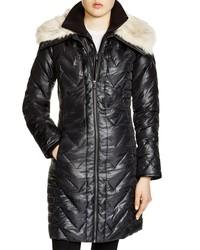 Via Spiga Women's Faux Faux Fur Trim Chevron Coat - Black - Size: XL