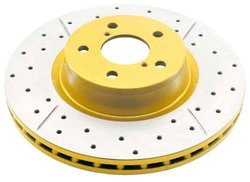 DBA Street Series Gold Cross Drilled & Slotted Rear Solid Disc Brake Rotor