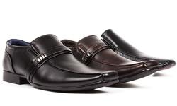 Bonafini Men's Dress Buckle Strap Shoes - Black - Size: 8.5