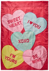 Carson Home Accents Double Applique Flag, Candy Hearts, Large