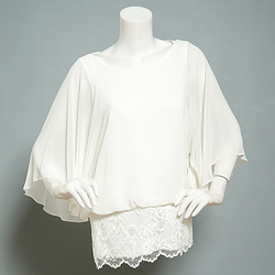 Prelude Women's Solid Color Sheer Lace Blouson Top - Ivory - Size: Medium