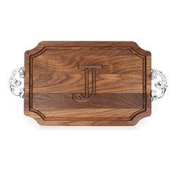 BigWood Boards J Cutting Board Walnut Wood Serving Tray with Handle