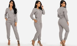 Women's Solid Long Sleeve Button-Up Jumpsuit - Grey - Size: Medium