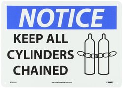 """NMC N289AB OSHA Sign, Legend """"NOTICE - KEEP ALL CYLINDERS CHAINED"""" with Graphic, 14"""" Length x 10"""" Height, Aluminum, Black/Blue on White"""