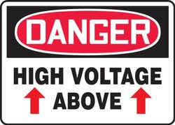 """Accuform Signs 10""""x14""""x0.010"""" """"DANGER HIGH VOLTAGE ABOVE"""" SignPad - 25Ct"""
