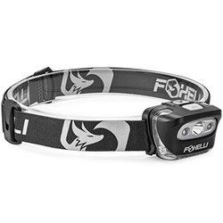 Foxelli Headlamp Flashlight - Black/White