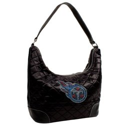 NFL Tennessee Titans Sport Noir Quilted Hobo Purse, Black