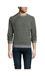 Cullen Men's Plaited Cotton Crewneck Sweater - Olive/Gray - Size: M