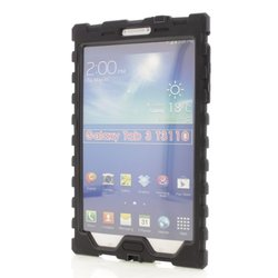 Samsung Galaxy Tab 3 8 inch (2013) Black Shock Drop Hard Candy Cases Silicone Rugged Shock Absorbing Protective Dual Layer Cover Case