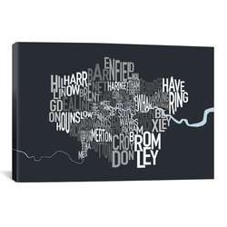 iCanvasART London Map by Michael Thompsett Canvas Art Print - 40 by 26""
