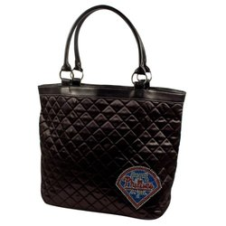 MLB Philadelphia Phillies Sport Noir Quilted Tote Purse, Black