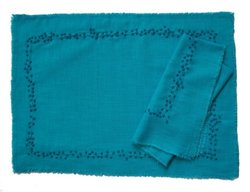 Gitika Goyal Home Khadi Chikanwork Mat Mosaic Design (Set of 4)