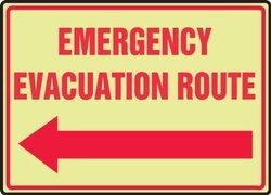 "Lumi-Glow Plastic Safety Sign Legend ""EMERGENCY EVACUATION ROUTE"" - Red"